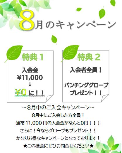 8月のキャンペーン★