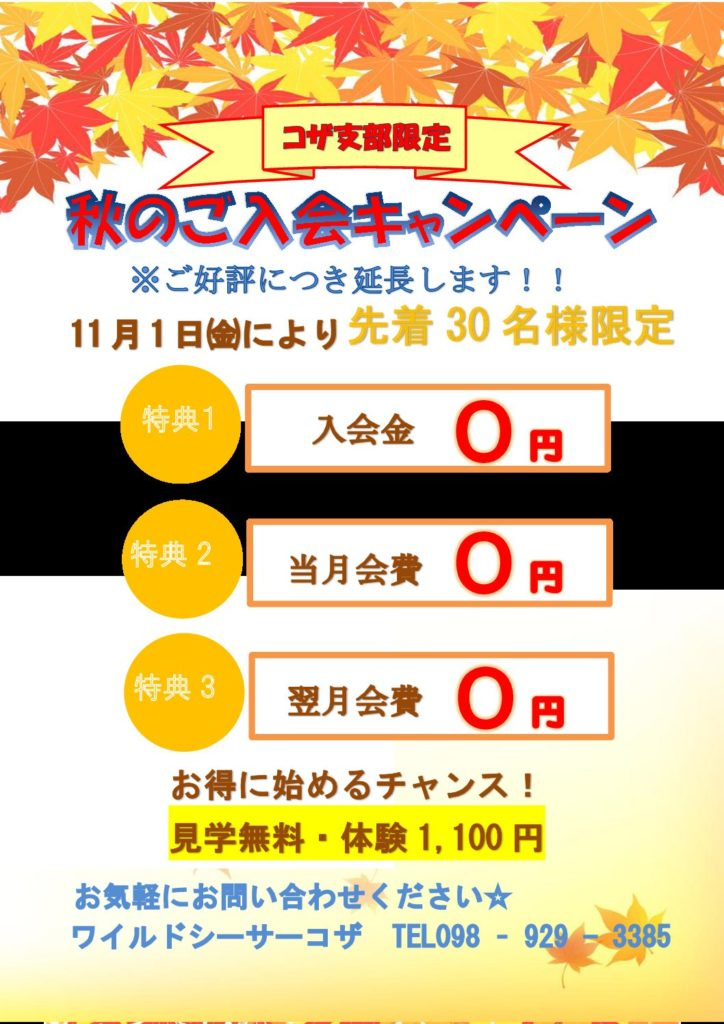 秋の入会キャンペーン継続!!
